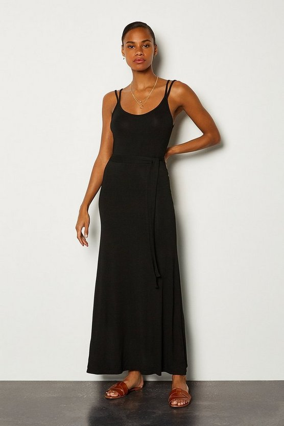 Black Tie Waist Jersey Maxi Dress