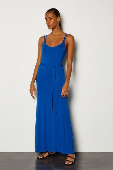 Blue Tie Waist Jersey Maxi Dress