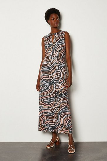 Animal Printed Wrap Tie Waist Jersey Dress