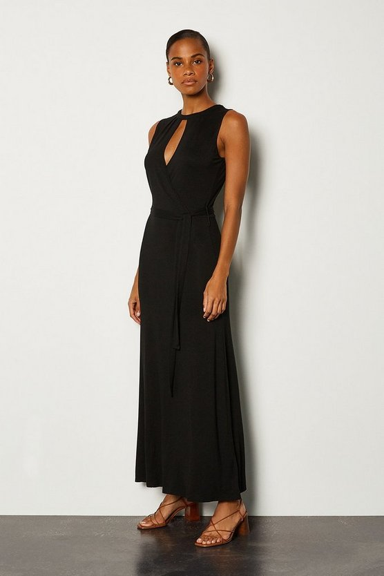 Black Wrap Front Tie Waist Jersey Dress