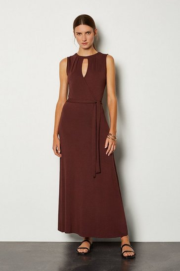 Rust Wrap Front Tie Waist Jersey Dress