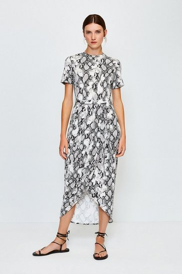 Animal Printed Tie Waist Jersey Dress