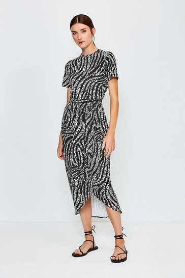 Zebra Printed Tie Waist Jersey Dress