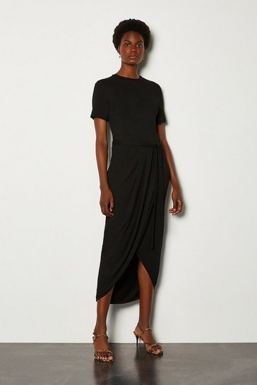 Black Tie Waist Jersey Dress