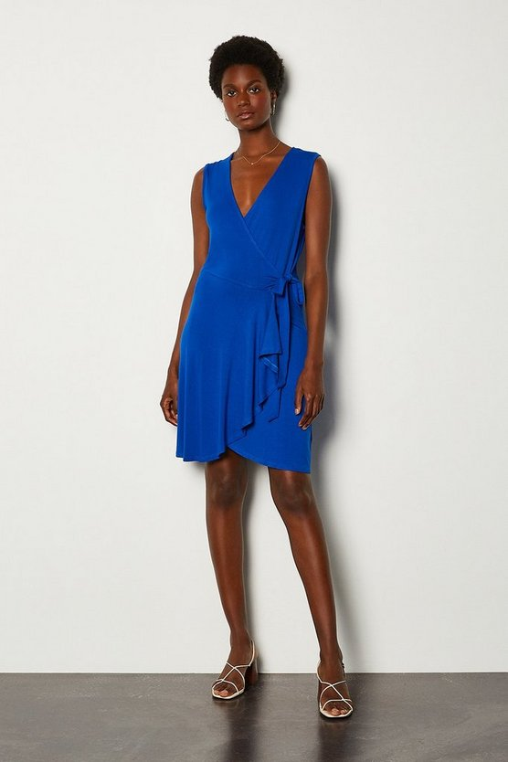 Blue Wrap Frill Jersey Dress