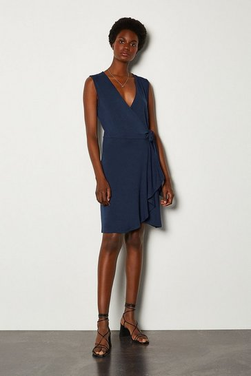 Navy Wrap Frill Jersey Dress