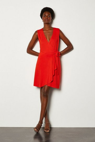 Red Wrap Frill Jersey Dress