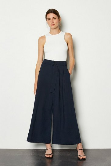 Navy Crop Wide Leg Linen Trouser
