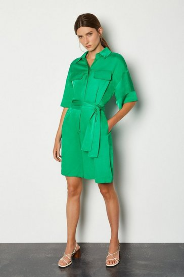 Green Viscose Linen Playsuit