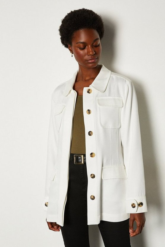 White Tencel Belted Safari Jacket