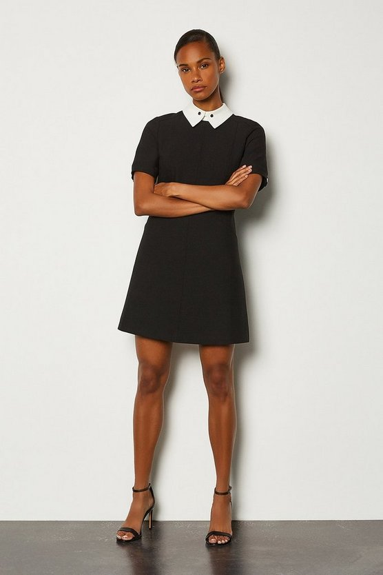 Ivory Collared A-Line Short Dress
