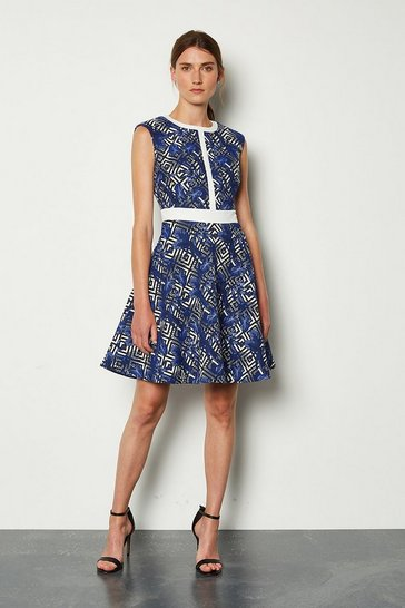 Blue Panelled Jacquard Pop On Dress