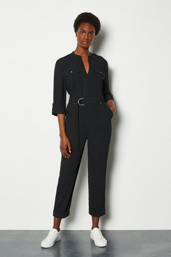 Black Belted Jumpsuit Long Sleeve