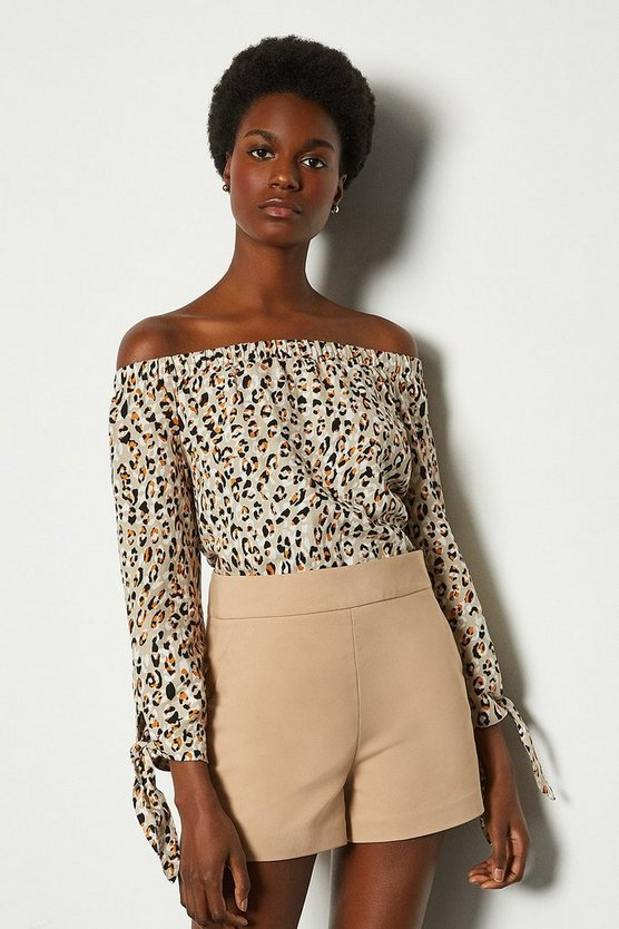 Linen Animal Print Bardot Top