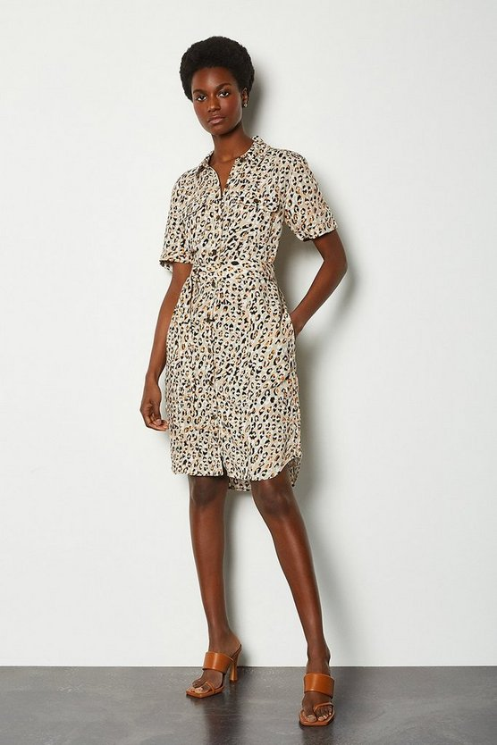Linen Animal Print Shirt Dress