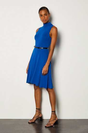 Cobalt High Neck Jersey Dress
