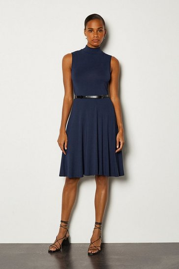 Navy Funnel Neck Jersey Dress