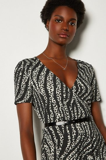 Animal Printed Wrap Front Jersey Dress