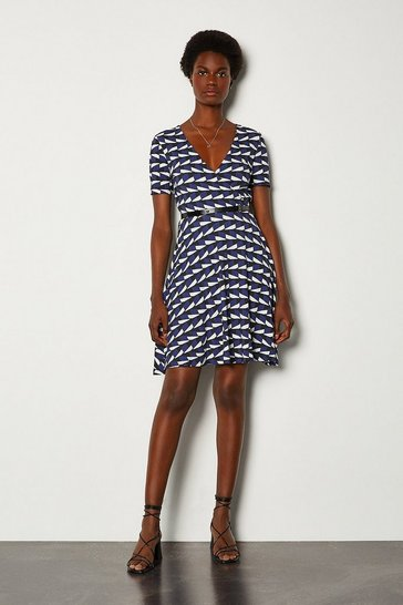 Black Printed Wrap Front Jersey Dress