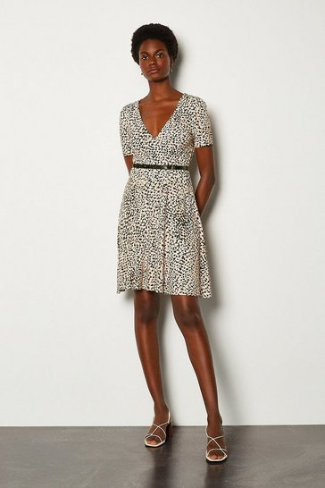 Floral Printed Wrap Front Jersey Dress