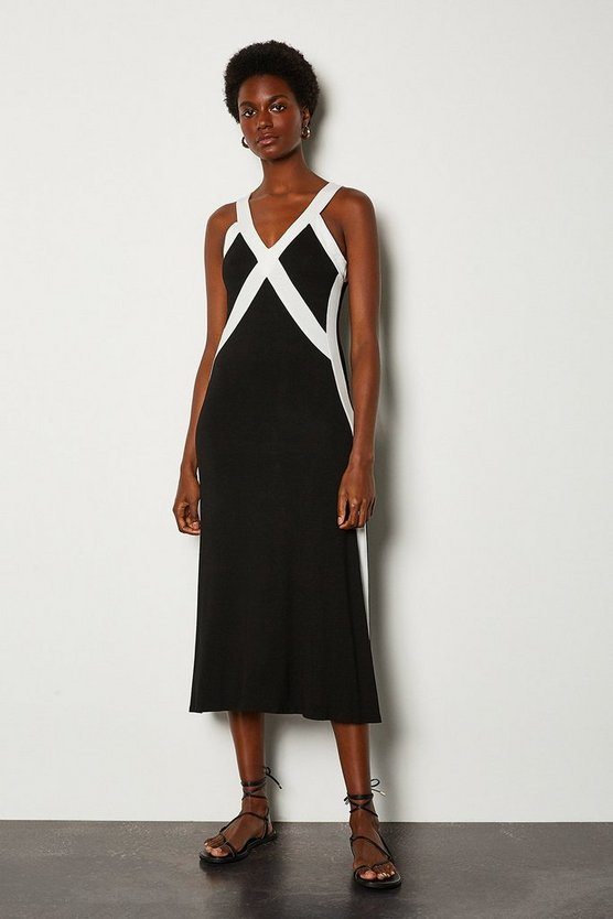 Black Cross Front Jersey Dress
