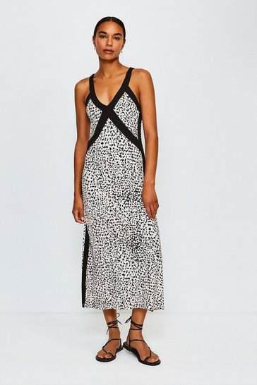 Animal Printed Cross Front Jersey Dress