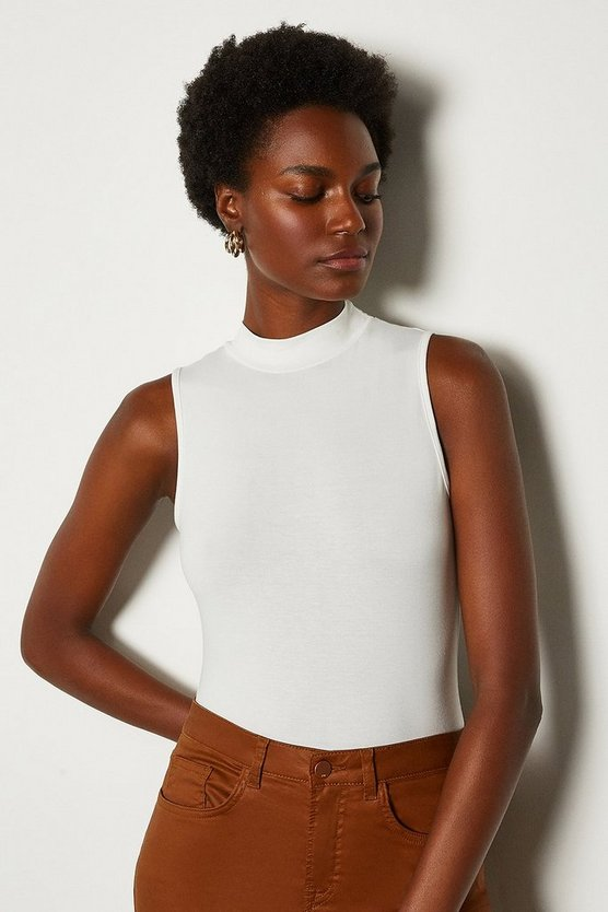 Ivory High Neck Sleeveless Jersey Top