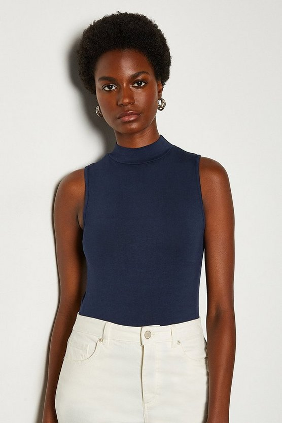Navy High Neck Sleeveless Jersey Top