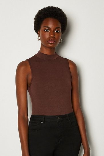 Rust High Neck Sleeveless Jersey Top