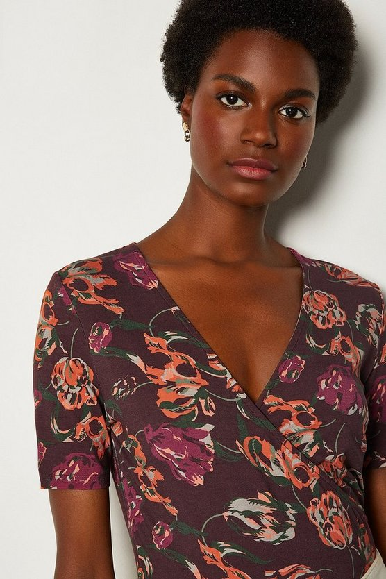 Purple Printed Wrap Jersey Top