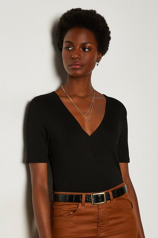 Black Wrap Front Jersey Top