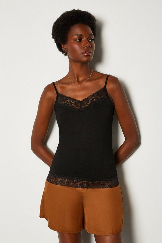 Black Lace Trim Jersey Cami