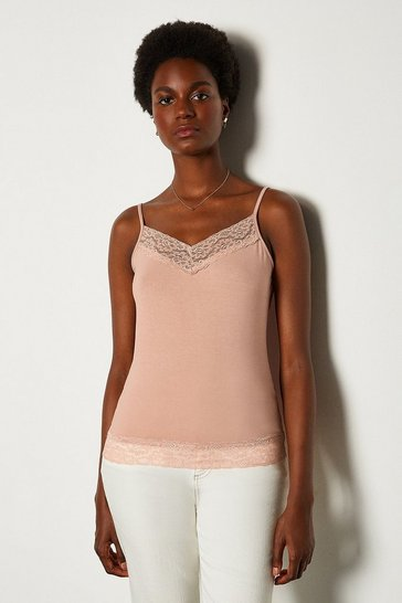 Blush Lace Trim Jersey Cami