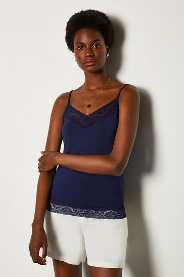 Navy Lace Trim Jersey Cami