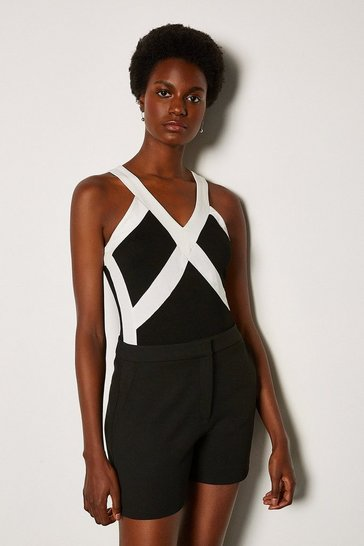 Black Cross Front Jersey Vest