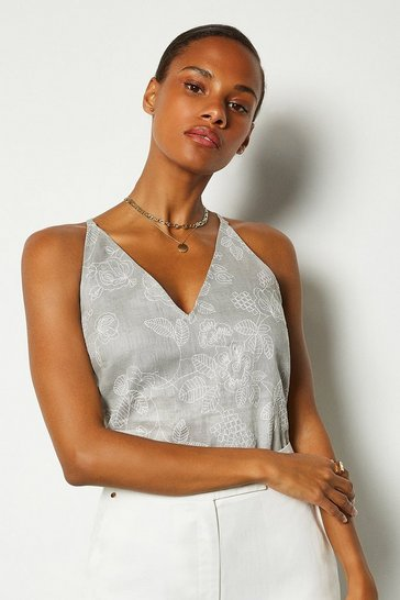 Grey Linen Strappy Cami