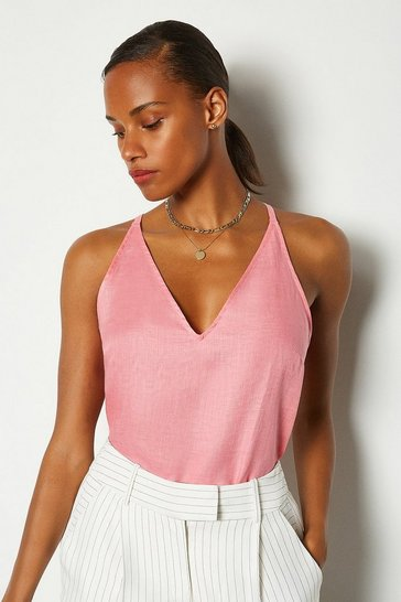 Pink Linen Strappy Cami
