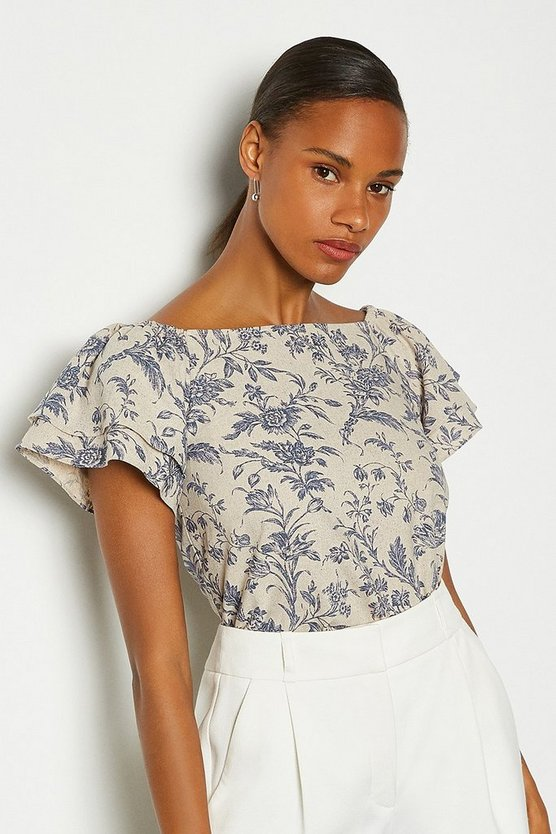 Blue Linen Bardot Top