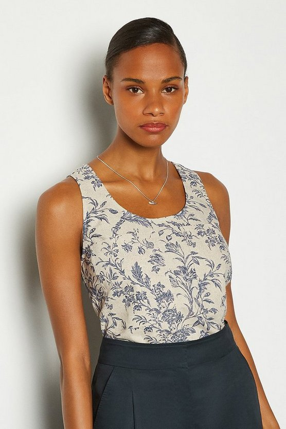 Blue Linen Sleeveless Shell Top