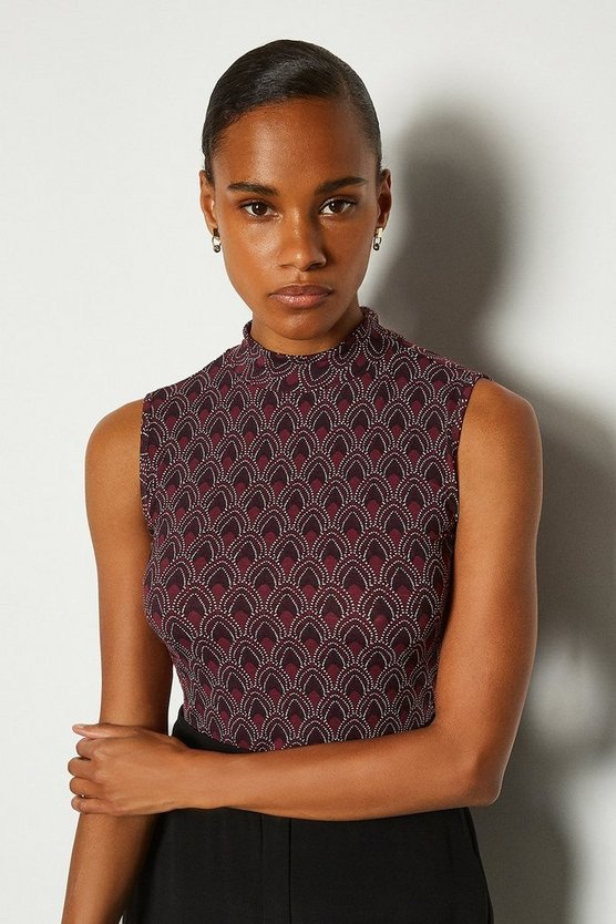 Black Printed Viscose Sleeveless Funnel Top