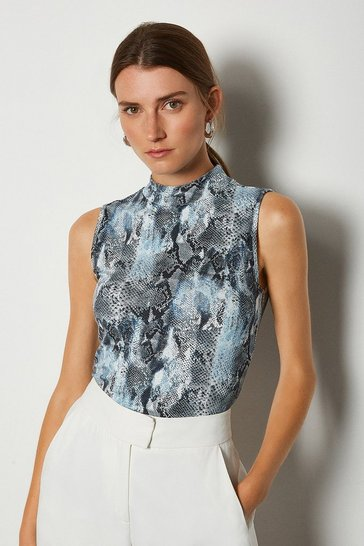 Grey Printed Viscose Sleeveless Funnel Top