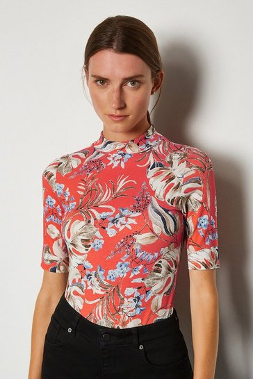 Red Printed Viscose Funnel Short Sleeved Top