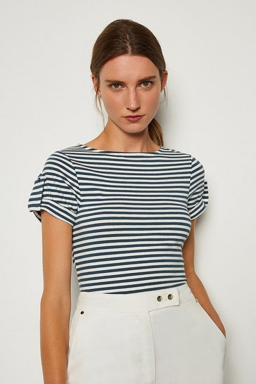 Blue Cotton Stripe T-Shirt