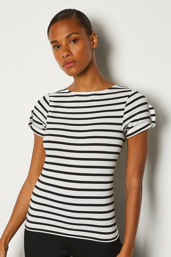 Cream Cotton Stripe T-Shirt