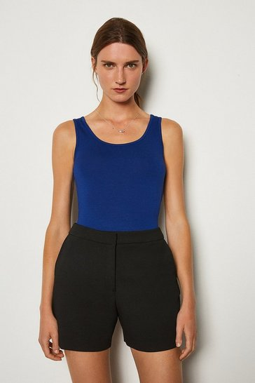 Blue Viscose Jersey Vest Top