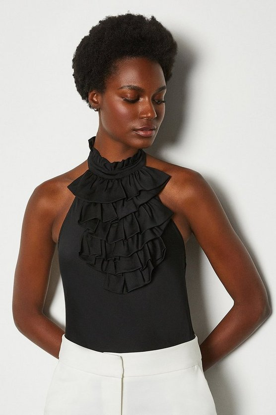 Black Silk Ruffle Halterneck Top