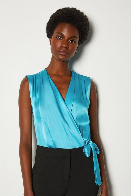 Blue Sleeveless Silk Satin Draped Bodysuit