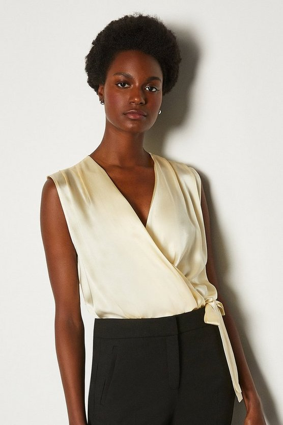 Ivory Sleeveless Silk Satin Draped Blouse