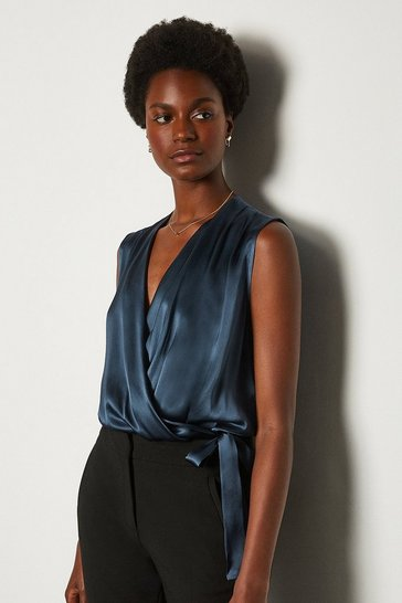 Navy Sleeveless Silk Satin Draped Blouse