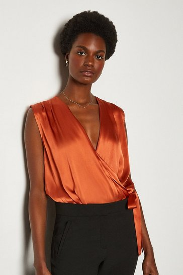 Tan Sleeveless Silk Satin Draped Blouse